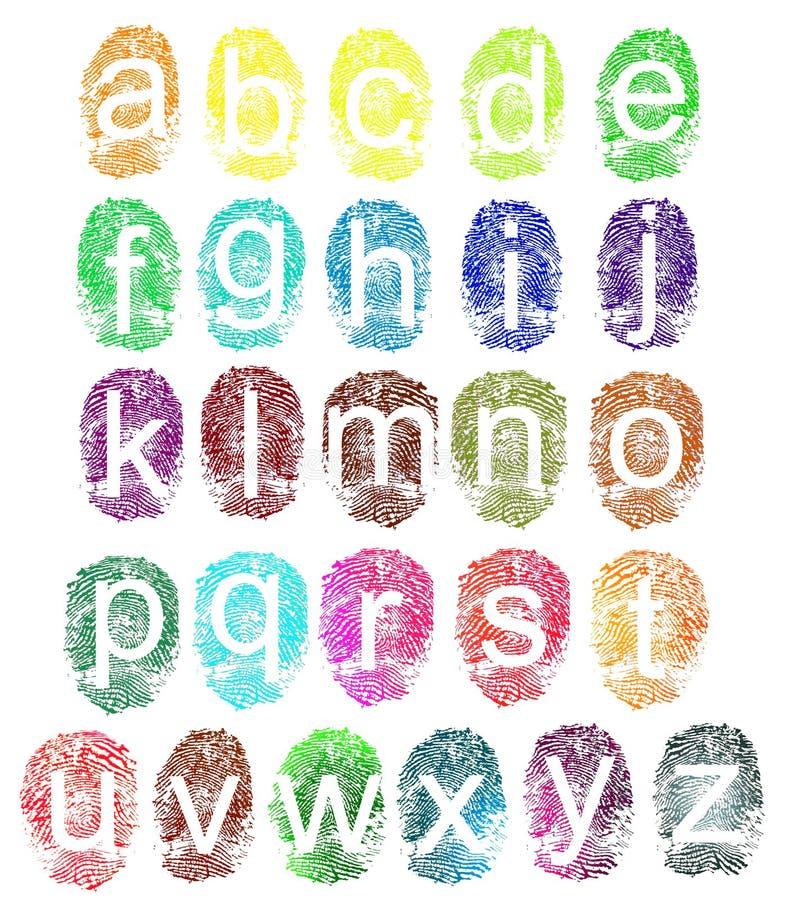 Het alfabet van de vingerafdruk vector illustratie