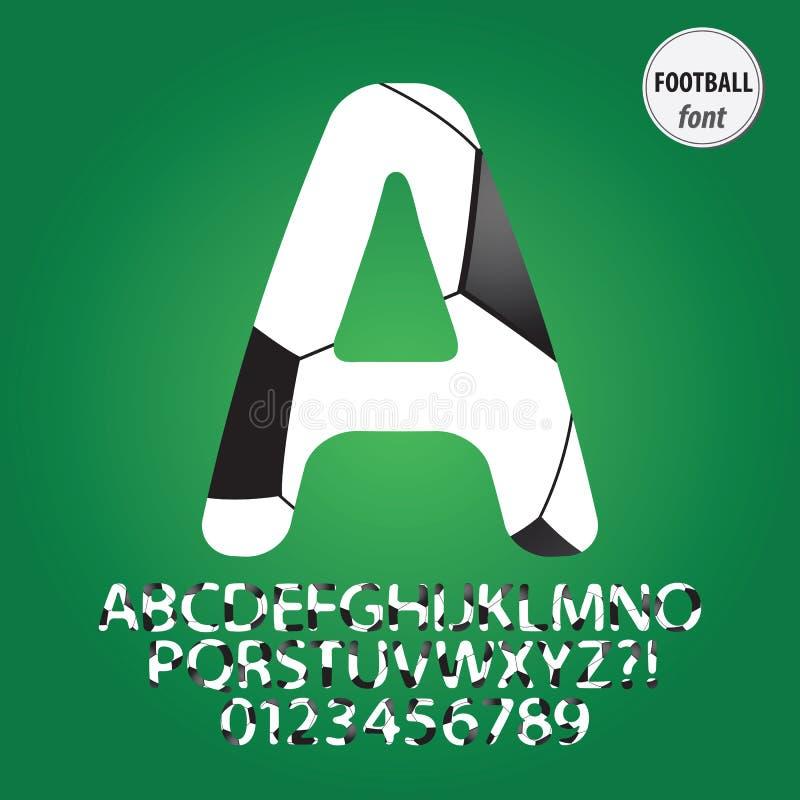 Het Alfabet van de voetbalbal en Cijfervector vector illustratie