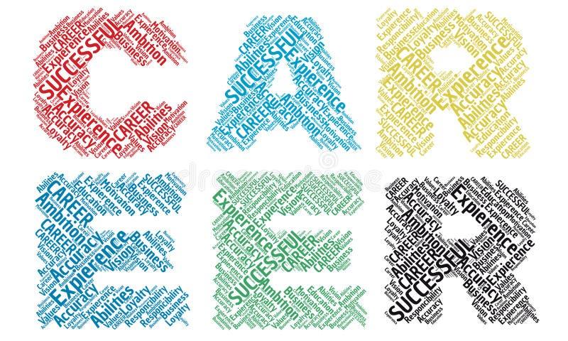 Het alfabet van de wolkenbrieven van het carrièrewoord stock fotografie