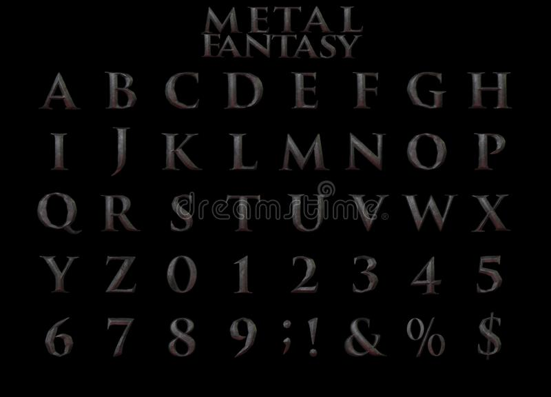 Het Alfabet van het fantasie Zware Metaal - 3D Illustratie stock illustratie
