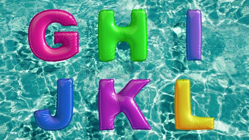 Het alfabet van gevormde opblaasbaar wordt gemaakt zwemt ring die in een verfrissend blauw zwembad drijven dat royalty-vrije illustratie