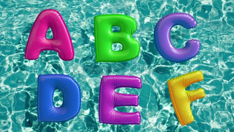 Het alfabet van gevormde opblaasbaar wordt gemaakt zwemt ring die in een verfrissend blauw zwembad drijven dat stock illustratie