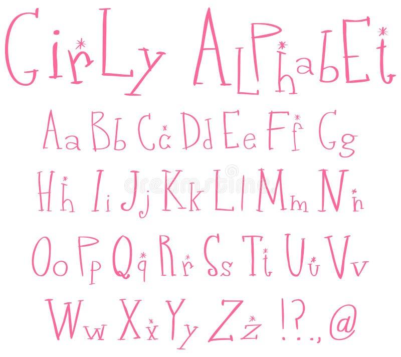 Het alfabet van Girly vector illustratie
