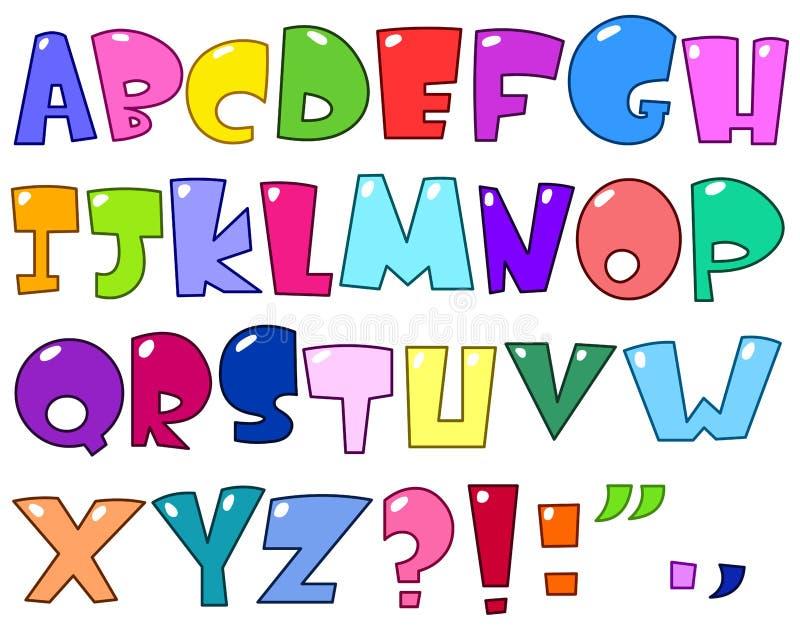 Het alfabet van het beeldverhaal stock illustratie