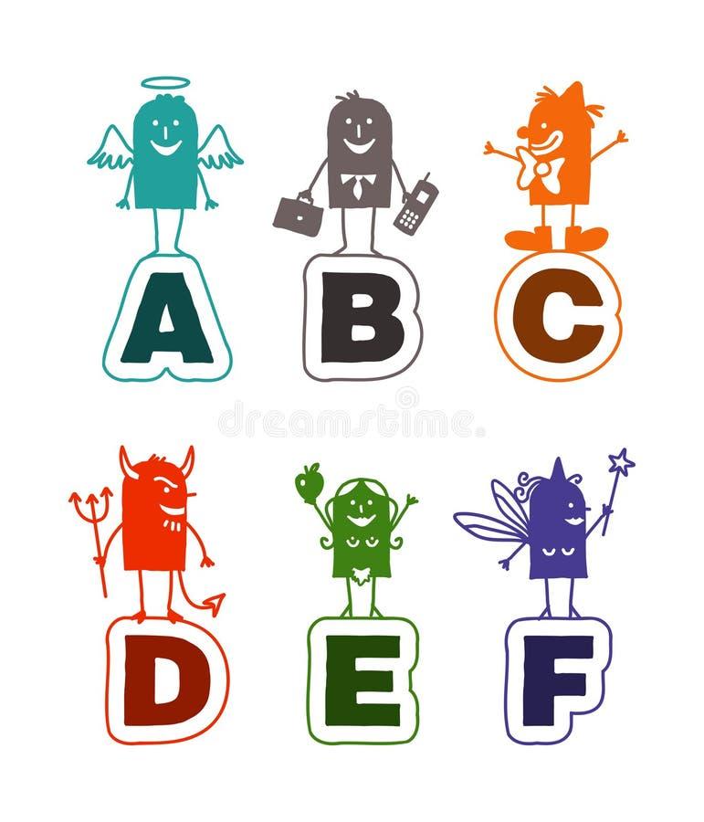 Het alfabet van het beeldverhaal - A aan F royalty-vrije illustratie