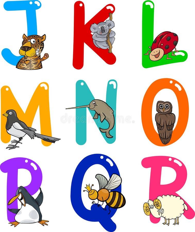 Het Alfabet van het beeldverhaal met Dieren royalty-vrije illustratie