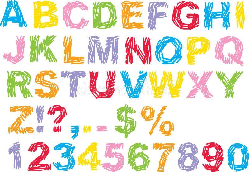 Het Alfabet van het gekrabbel vector illustratie