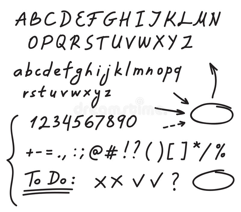 Het alfabet van het handschrift vector illustratie