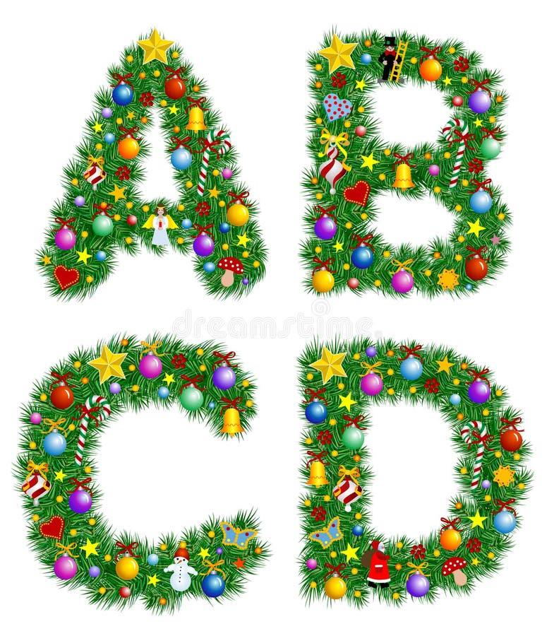 Het Alfabet van Kerstmis vector illustratie