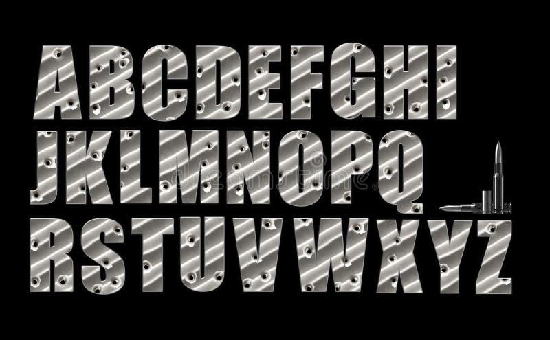 Het alfabet van kogelgaten op zwarte wordt geplaatst die vector illustratie