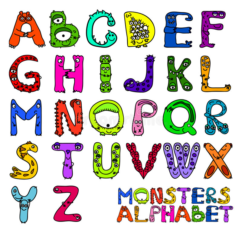 Het alfabet van monsters vector illustratie