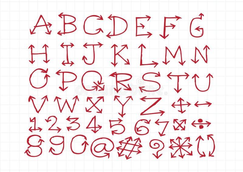 Het alfabet van schetspijlen, Pijldoopvont A door Z en aantallen vector illustratie