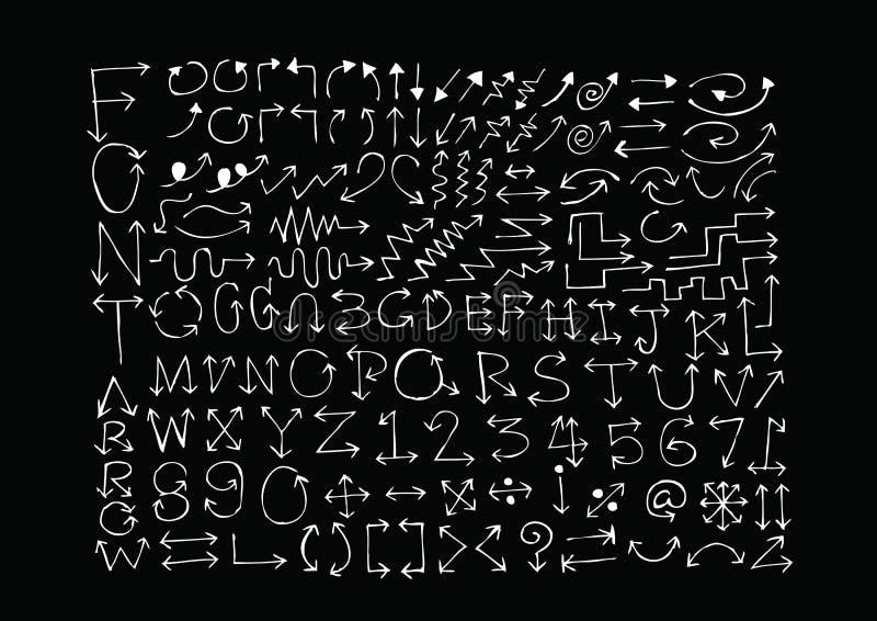 Het alfabet van schetspijlen, Pijldoopvont A door Z en aantallen stock illustratie