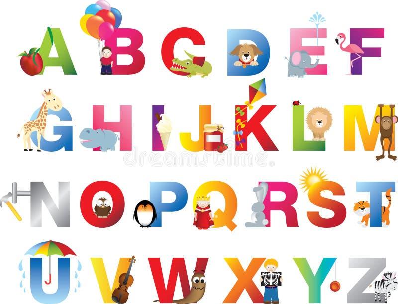 Het alfabet van volledige kinderen stock illustratie