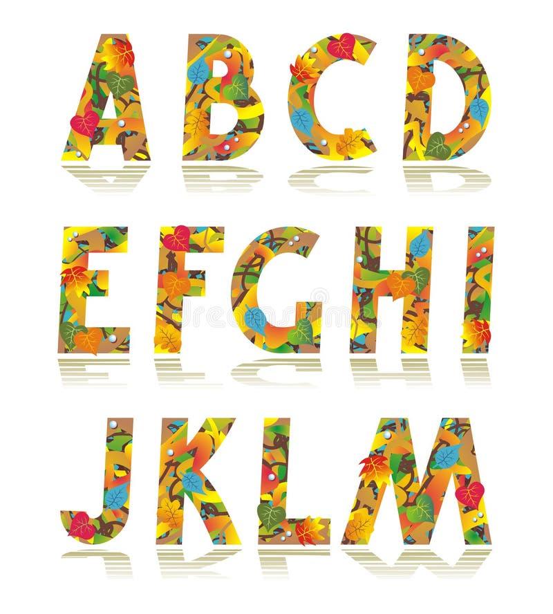 Het alfabet vastgestelde brieven A van de herfst - M stock illustratie