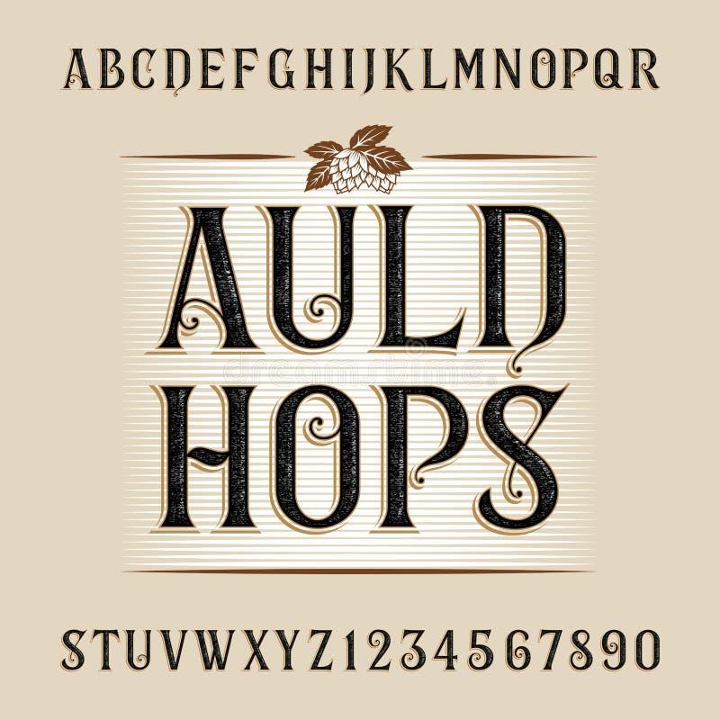 Het alfabet vectordoopvont van de Auldhop Verontruste letters en getallen vector illustratie