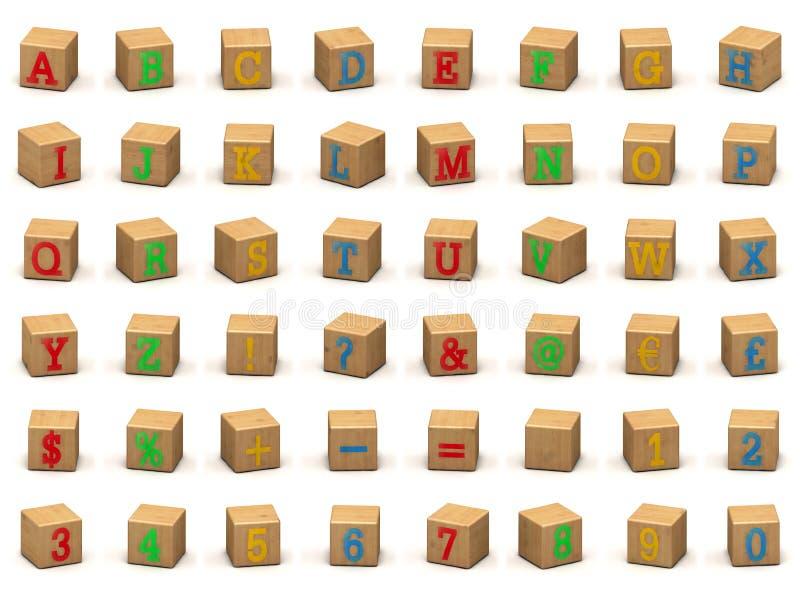 Het alfabetbouwstenen van het kind, diverse hoeken royalty-vrije illustratie