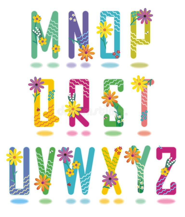 Het alfabetbrieven M van de lente - Z stock illustratie