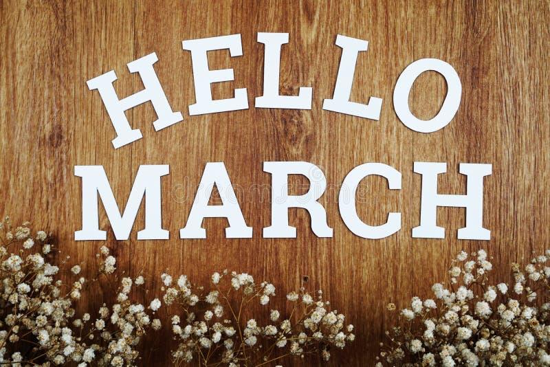Het alfabetbrieven van Hello Maart met ruimteexemplaar en droge bloem op houten achtergrond stock afbeelding