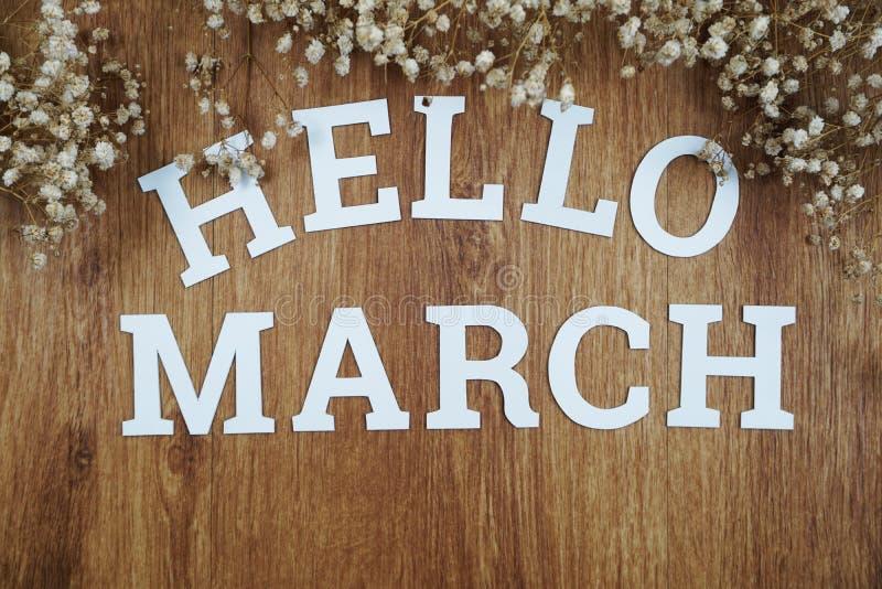Het alfabetbrieven van Hello Maart met ruimteexemplaar en droge bloem op houten achtergrond stock foto's