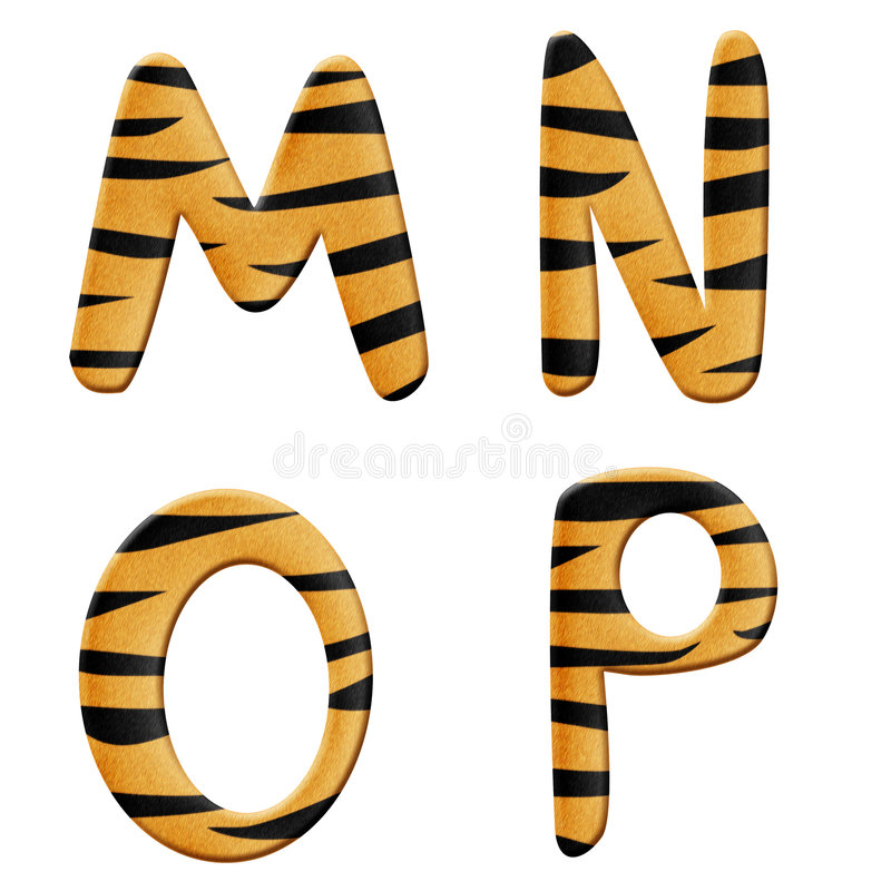 Het alfabetdeel 4 van de tijger vector illustratie