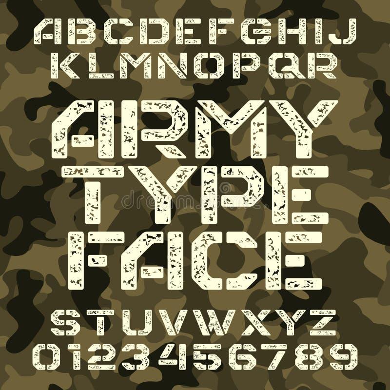Het alfabetdoopvont van de legerstencil Grungetype letters en getallen op militaire camoachtergrond vector illustratie