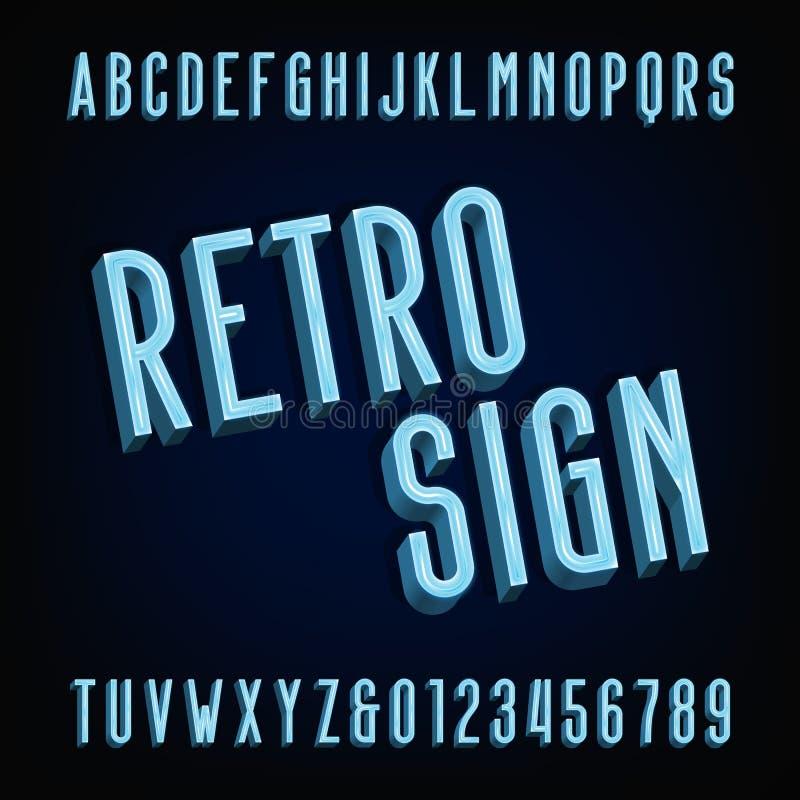 Het alfabetdoopvont van het neon retro teken Volumetrische typeletters en getallen stock illustratie