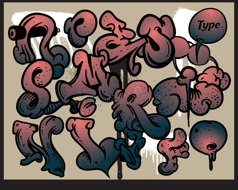 Het alfabetelementen van Graffiti vector illustratie