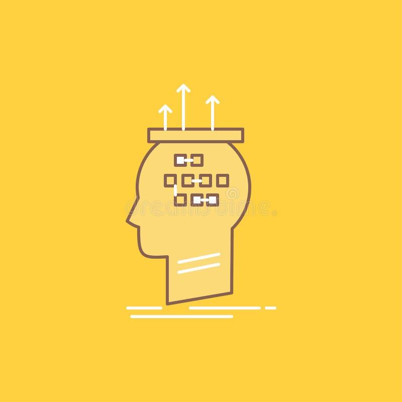 Het algoritme, hersenen, conclusie, proces, het denken Vlakke Lijn vulde Pictogram Mooie Embleemknoop over gele achtergrond voor  stock illustratie
