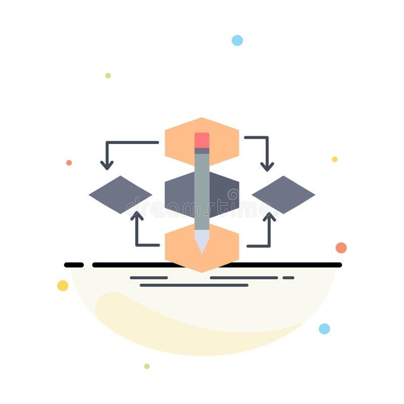 Het algoritme, ontwerp, methode, model, verwerkt de Vlakke Vector van het Kleurenpictogram royalty-vrije illustratie