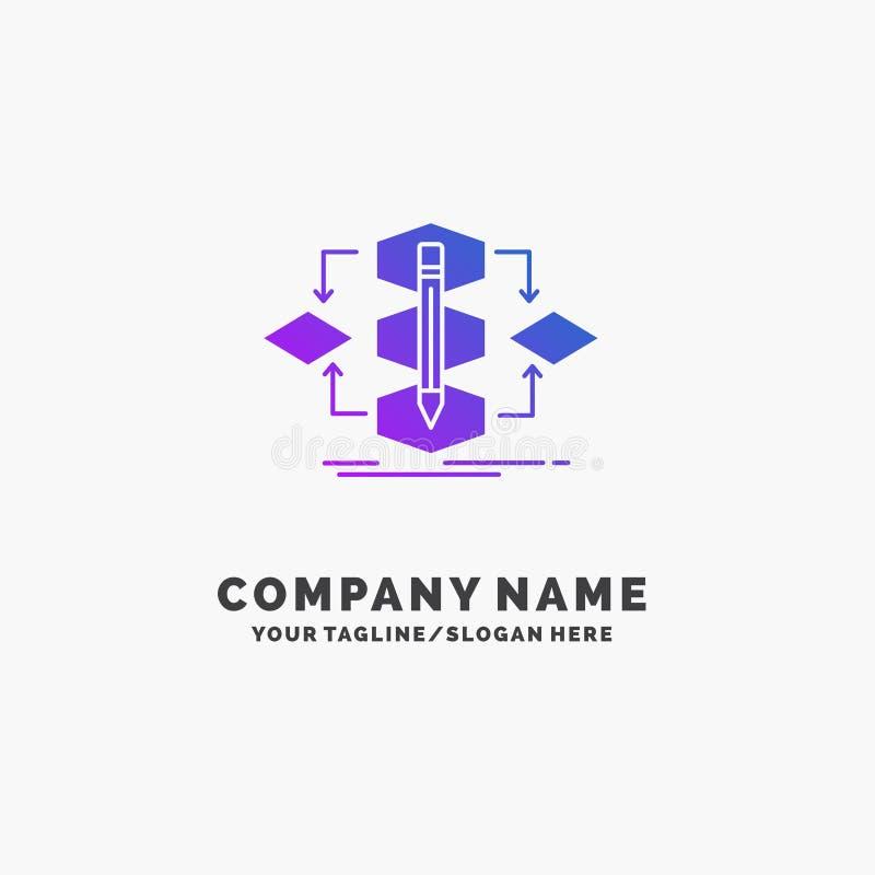 Het algoritme, ontwerp, methode, model, verwerkt Purpere Zaken Logo Template Plaats voor Tagline vector illustratie