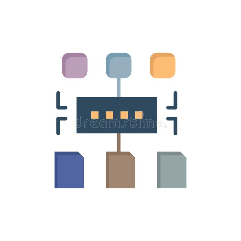 Het algoritme, Programma, Gebruiker, documenteert Vlak Kleurenpictogram Het vectormalplaatje van de pictogrambanner stock illustratie