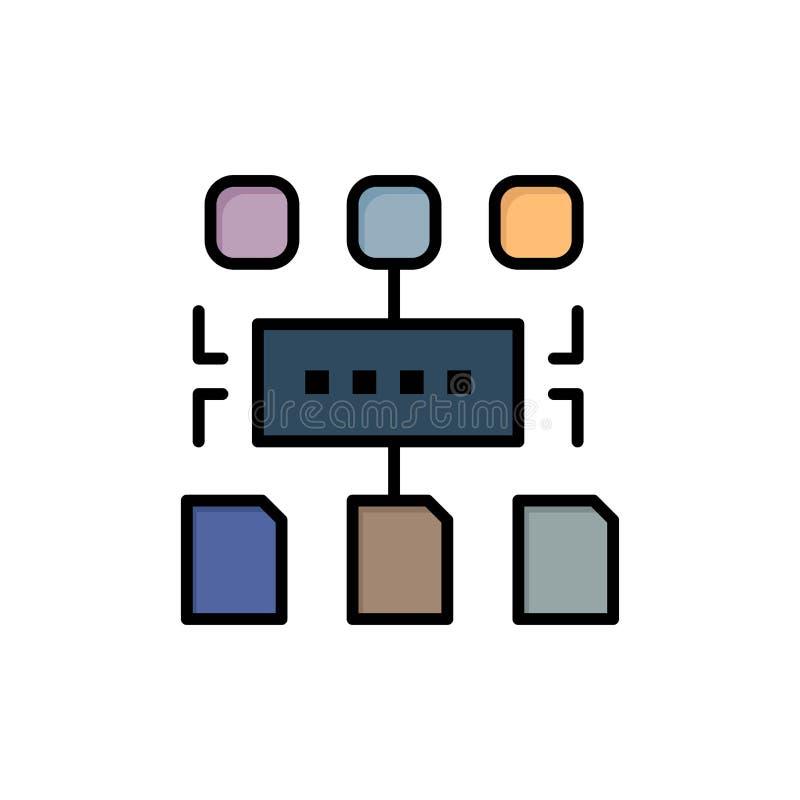 Het algoritme, Programma, Gebruiker, documenteert Vlak Kleurenpictogram Het vectormalplaatje van de pictogrambanner vector illustratie