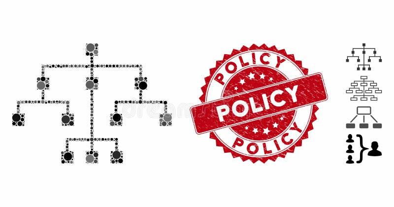 Het Algoritme van de collage pictogram van de Boom met de Stempel van het Beleid van de Boomstam vector illustratie