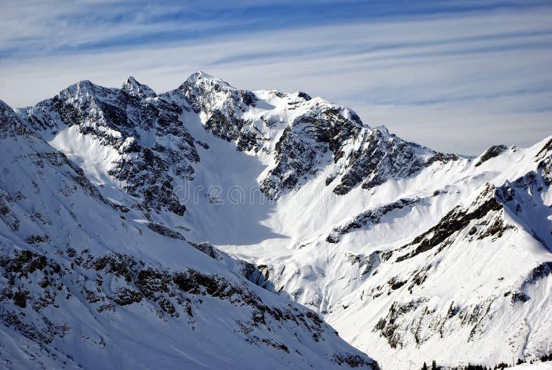 Het Alpiene Panorama van de winter royalty-vrije stock foto's