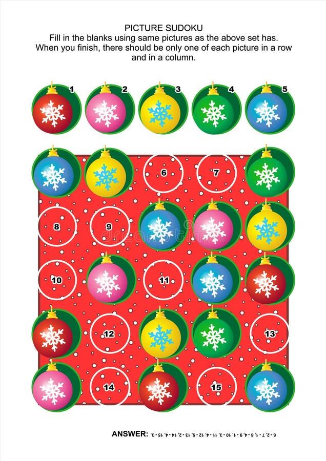 Het als thema gehade raadsel, Kerstmis of het Nieuwjaar van beeldsudoku stock illustratie