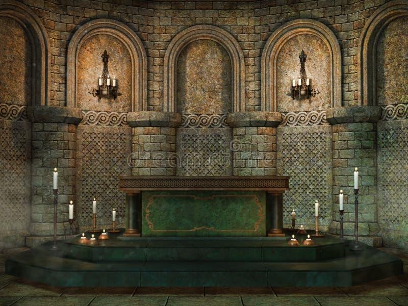 Het altaar van de fantasiekerk royalty-vrije illustratie