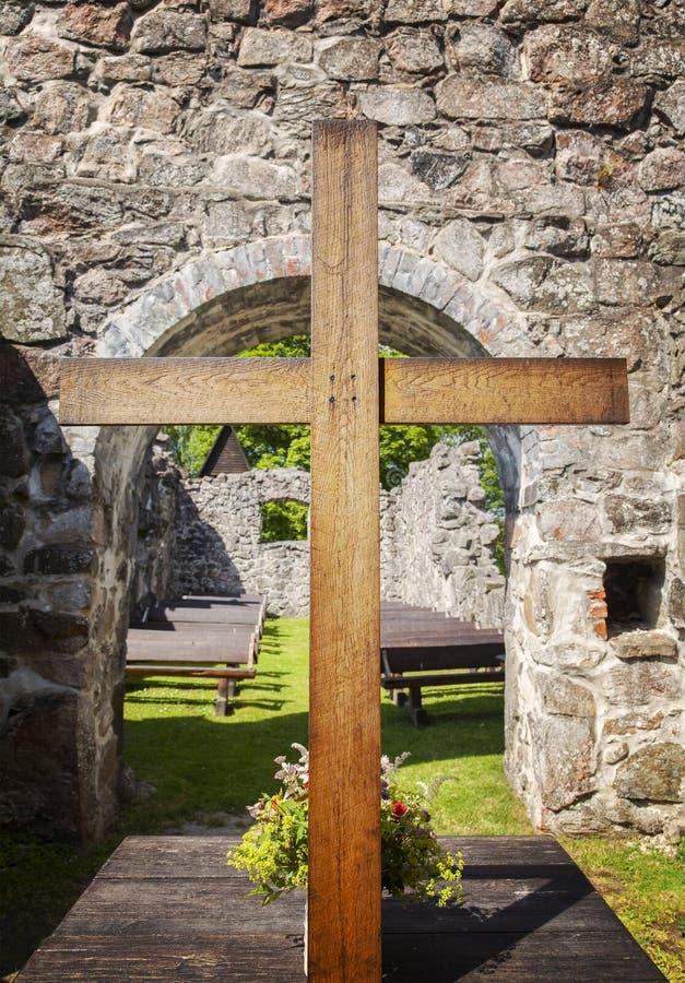 Het altaar van de kerkruïne royalty-vrije stock afbeelding