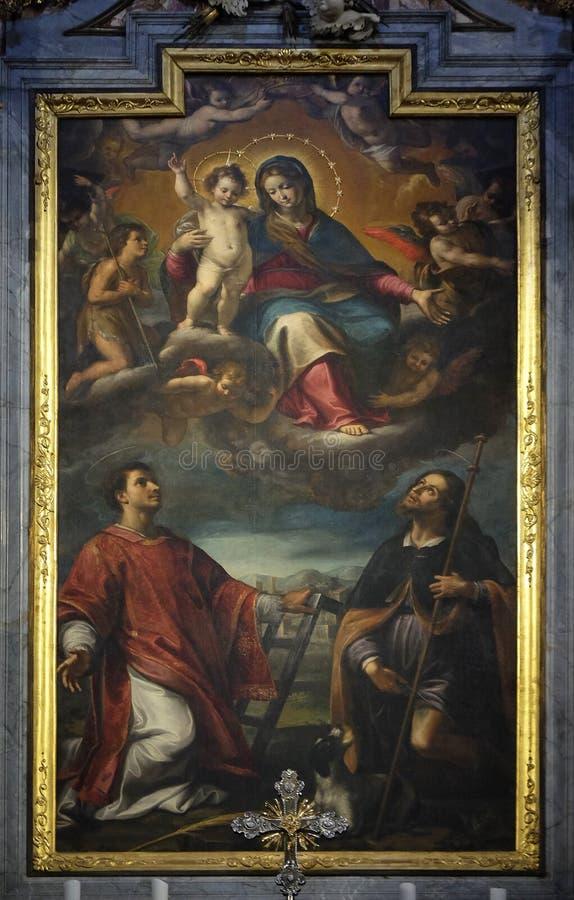Het altaar van Onze Dame van vereert in de Kathedraal van Heilige Lawrence in Lugano royalty-vrije stock fotografie
