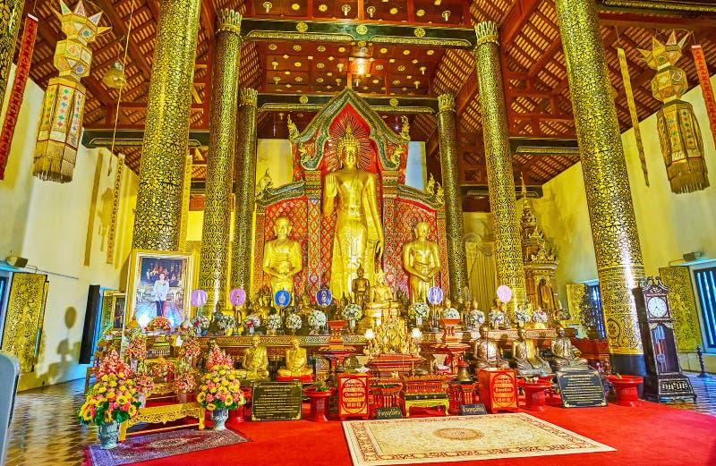 Het altaar van Phra Viharn Luang, Wat Chedi Luang, Chiang Mai, Thailand royalty-vrije stock foto
