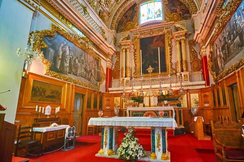 Het altaar van St Francis van de Kerk van Assisi, Victoria, Gozo, Malta royalty-vrije stock foto's