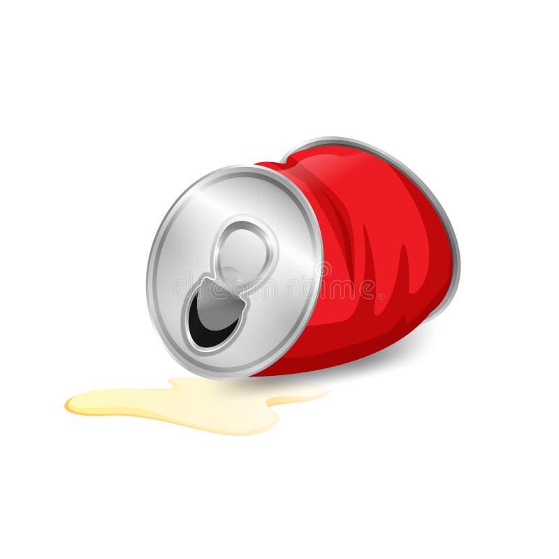 Het aluminium blikte afval, ingeblikt huisvuilafval de rode die in kleur op witte achtergrond wordt geïsoleerd, het beeldverhaali royalty-vrije illustratie