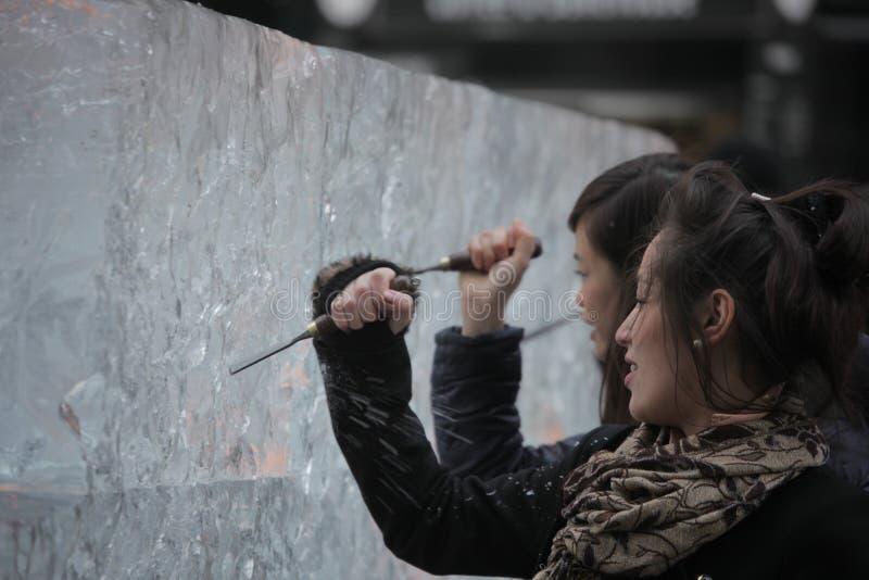 Het amateur ijs beeldhouwen stock fotografie