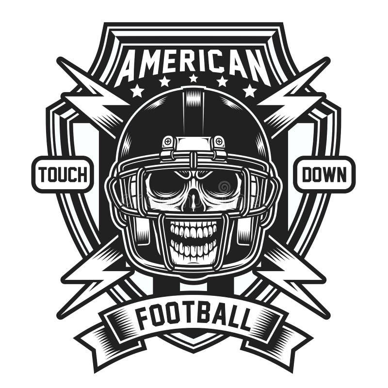 Het Amerikaanse die Embleem van de Voetbalschedel op Wit wordt geïsoleerd vector illustratie