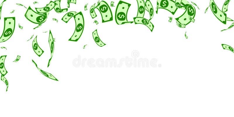 Het Amerikaanse dollarnota's vallen Willekeurige USD-rekeningen  royalty-vrije illustratie