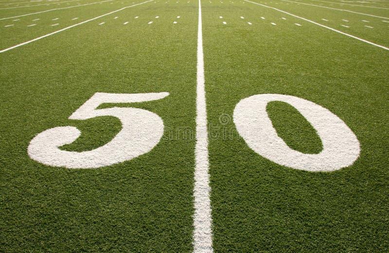Het Amerikaanse Gebied van de Voetbal de Lijn van 50 Yard stock afbeelding