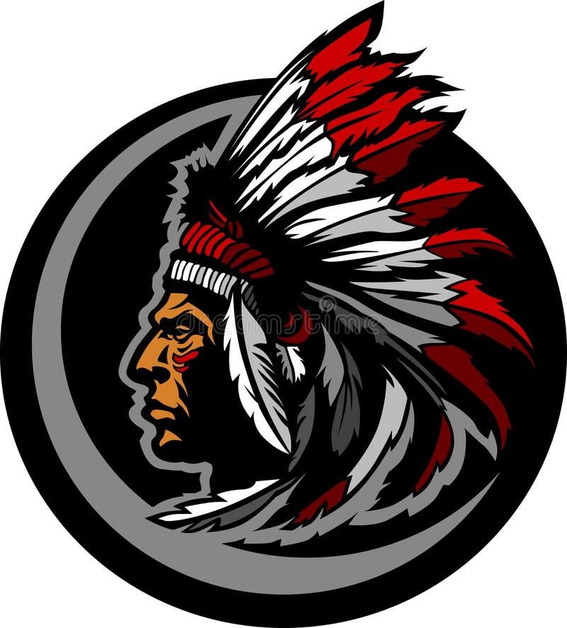 Het Amerikaanse Inheemse Indische Belangrijkste Grafische Hoofd van de Mascotte vector illustratie