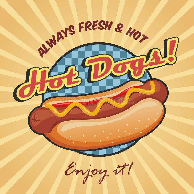 Het Amerikaanse malplaatje van de hotdogaffiche vector illustratie