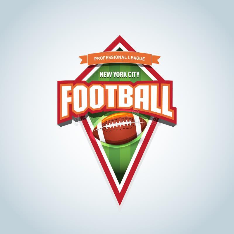 Het Amerikaanse malplaatje van het voetbalembleem Amerikaans voetbalembleem, logotype malplaatje, het ontwerp van de t-shirtkledi stock illustratie