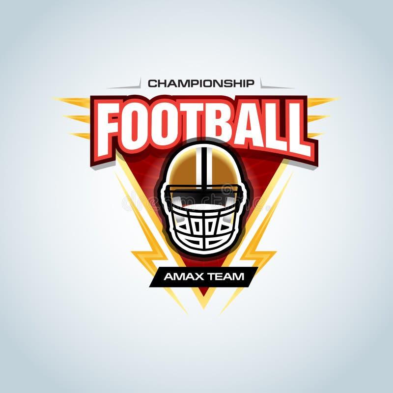 Het Amerikaanse malplaatje van het voetbalembleem, kenteken, t-shirt, etiket, embleem Voetbalhelm Vector illustratie stock illustratie